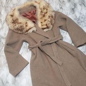 Vintage Wool Wrap / Blanket Coat Tan